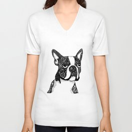 Boston Terrier Unisex V-Neck