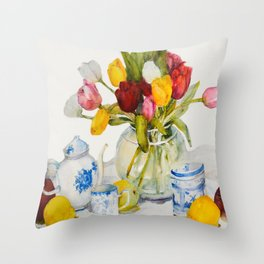 Tulips with Blue and White China  Throw Pillow