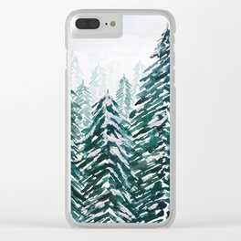 snowy pine forest in green Clear iPhone Case