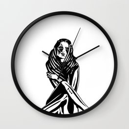 Woman with a tattoo Wall Clock