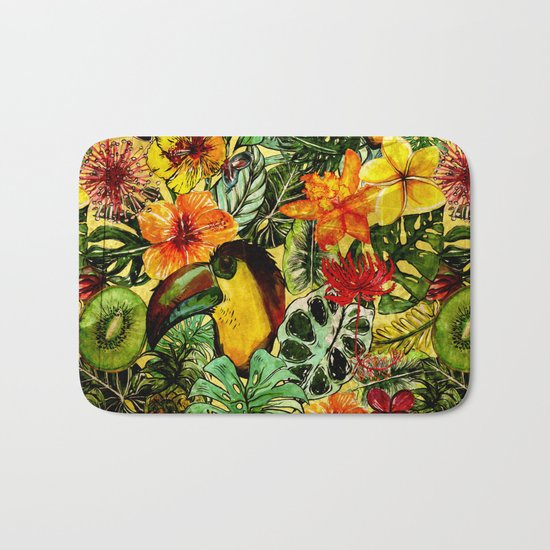 Tropical Vintage Exotic Jungle Flower Flowers - Floral watercolor pattern on #Society6 Bath Mat