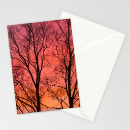 Tree Silhouttes Against The Sunset Sky #decor #society6 #homedecor Stationery Cards