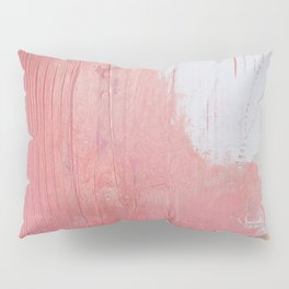 Melody: a pretty minimal abstract painting in gold pink and white by Alyssa Hamilton Art Pillow Sham