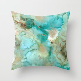 Alcohol Ink 'Mermaid' Throw Pillow