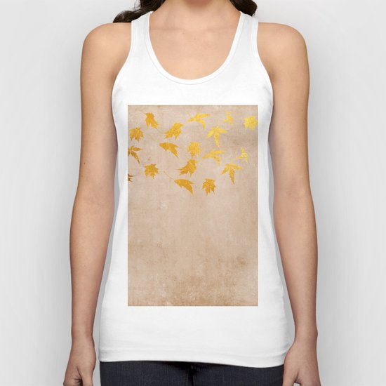 Gold leaves on grunge background - Autumn Sparkle Glitter design #Society6 Unisex Tank Top