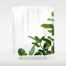 Minimalist Mid Century Abstract Houseplant Green Leaves Fig Tree Shower Curtain