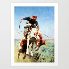 """Bronco Rider"" Western Art by W Herbert Dunton Art Print"