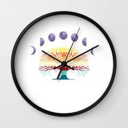 The Moon Retro Colorful Tree 60's 70's Tree Wall Clock