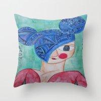minnie Throw Pillows featuring Minnie Blue by fieltrovitz