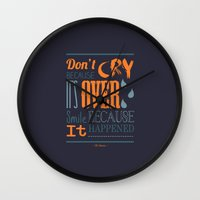 dr seuss Wall Clocks featuring Dr. Seuss Quote  by Robert Woods