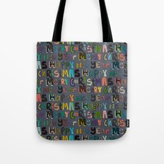 metal merry christmas and happy new year Tote Bag