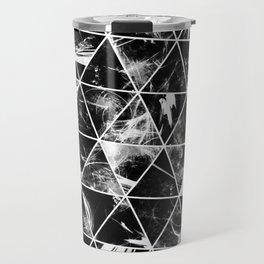 Geometric Whispers - Abstract, black and white triangular, geometric pattern Travel Mug