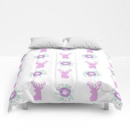 Deer head silhouette floral bouquet bloom flowers camping pastel lavender nursery Comforters
