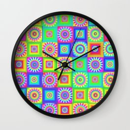 Multicoloured Patchwork Flowers Hippy Style Wall Clock