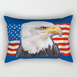 Patriotic Eagle 4th of July American Flag Rectangular Pillow
