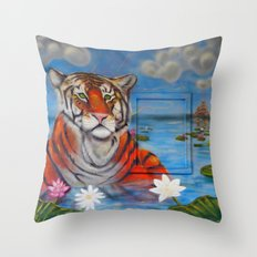 Bathing Tiger Throw Pillow