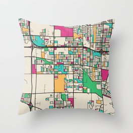 Colorful City Maps: Lansing, Illinois Throw Pillow