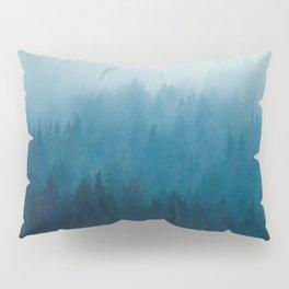 Misty Turquoise Blue Pine Forest Foggy Ombre Monochrome Trees Landscape Pillow Sham