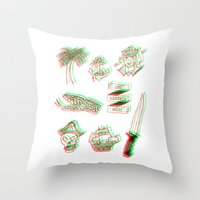 miles davis Throw Pillows featuring One hundred miles by Marcelo Romero