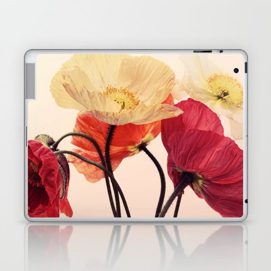 Posing Poppies - bright, vintage toned poppy still life Laptop & iPad Skin