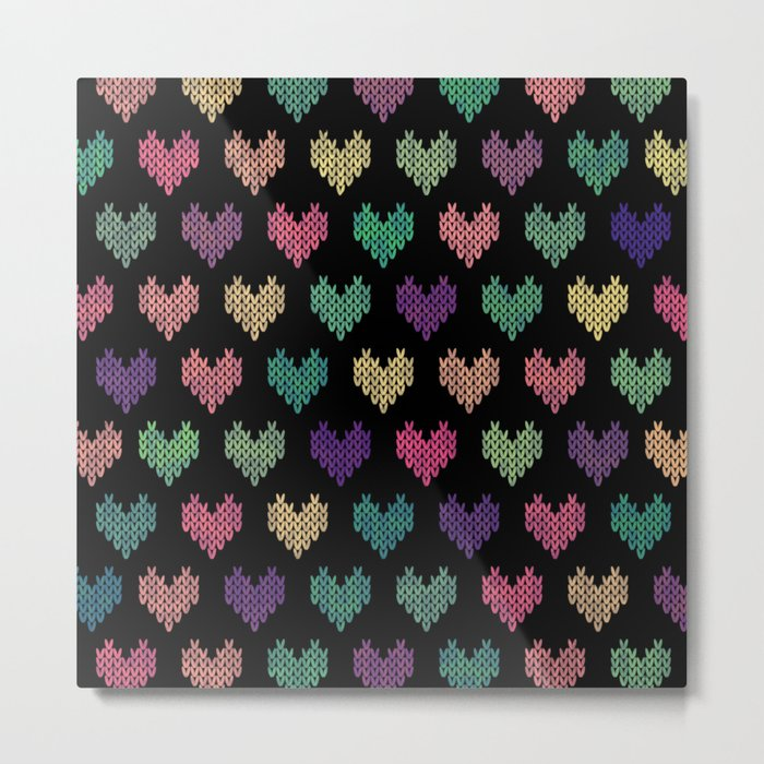 Colorful Knitted Hearts VI Metal Print