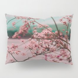 Pink Baby's Breath White Pink Blossoms Against Turquoise Background Pillow Sham