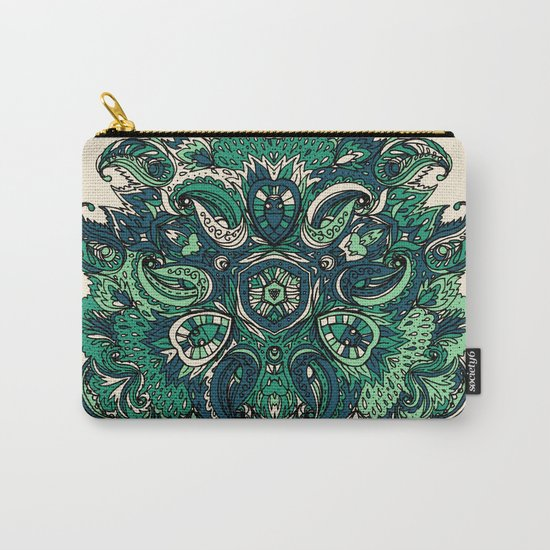 Green Indian Mandala Carry-All Pouch