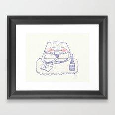 wine cat Framed Art Print