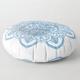 Blue Mandala on White Marble Floor Pillow