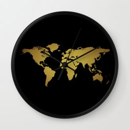 Black and Gold Foil World Map Wall Clock