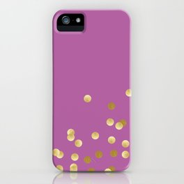 Gold Confetti on Radiant Orchid iPhone Case