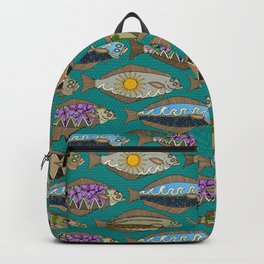 Alaskan halibut teal Backpack