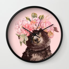 Baby Bear with Flowers Crown Wall Clock