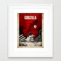 godzilla Framed Art Prints featuring Godzilla.  by Sinpiggyhead