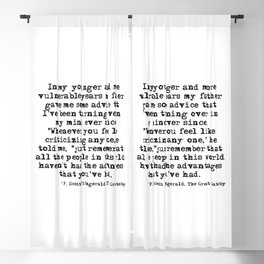 In my younger and more vulnerable years - F Scott Fitzgerald Blackout Curtain