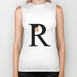 Letter R with face of women Biker Tank