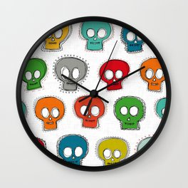 sew skully white Wall Clock