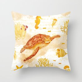 Hawksbill Sea Turtles Throw Pillow