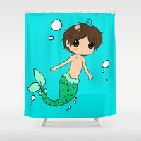 snk Shower Curtains featuring Chibi Mer!Eren by Sir-Snellby