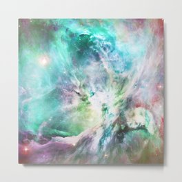 Abstract teal pink cosmic nebula space galaxy Metal Print