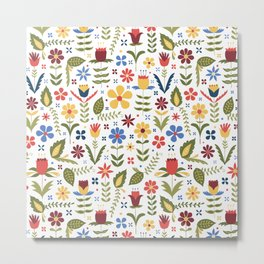 folky floral pattern Metal Print