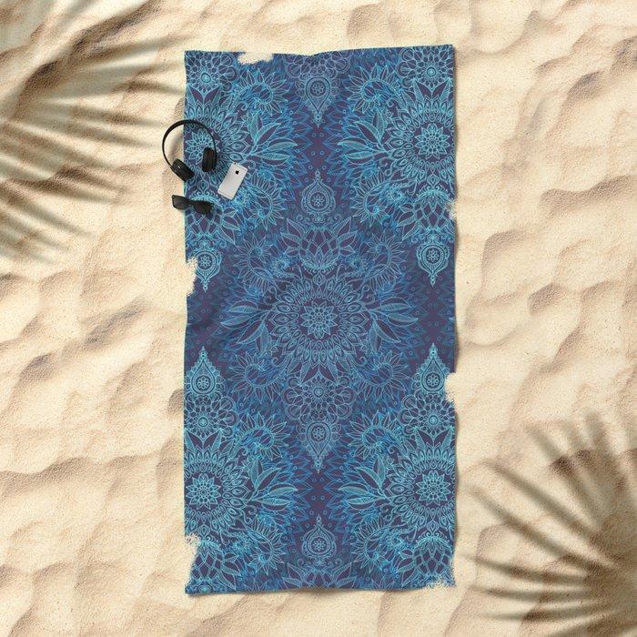 Aqua, Cobalt Blue & Purple Protea Doodle Pattern Beach Towel