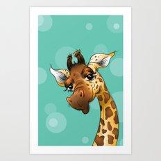 Teal Giraffe! Art Print