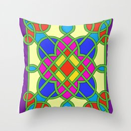 Celtic Knot Stained Glass Throw Pillow