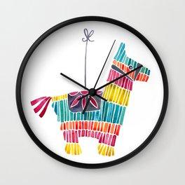 Mexican Donkey Piñata – CMYK Palette Wall Clock