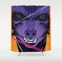 rocket raccoon Shower Curtains featuring Rocket Raccoon Guardians of the galaxy by W.B.