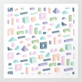 Pastel colored wooden isolated toy building blocks. Vector seamless isometric pattern Art Print