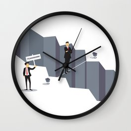 Teamwork Helps Overcome Obstacles Wall Clock