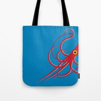 squid Tote Bags featuring Squid by Mark Walker