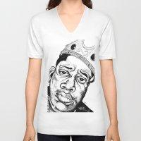 biggie smalls V-neck T-shirts featuring Biggie Smalls Stippling by Tom Brodie-Browne